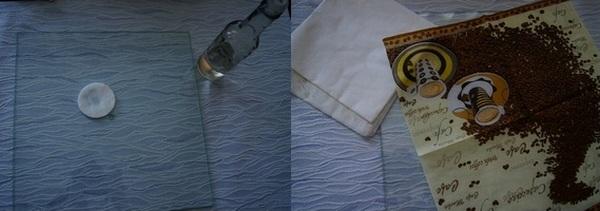 Протираем стекло и кладем сверху салфетку. Фото с сайта http://wordofdecor.com/