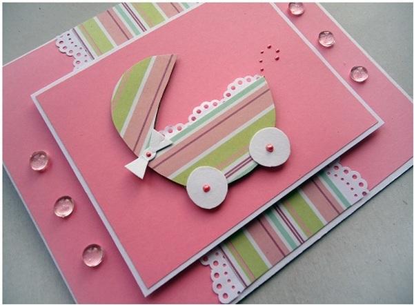 как сделать маме открытку с рождением дочки коричневый