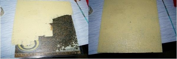 Заполняем картину зернами даем высохнуть. Фото с сайта http://wordofdecor.com/