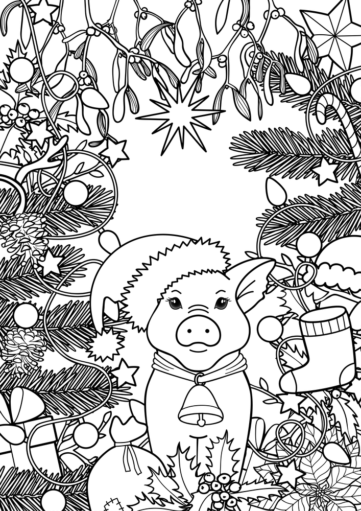 Светлане открытки, новогодняя открытка для раскрашивания со свиньей