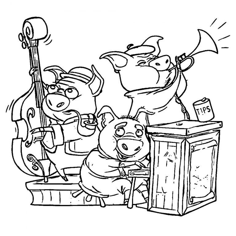 Открытки раскраски с новым годом 2019 свиньи