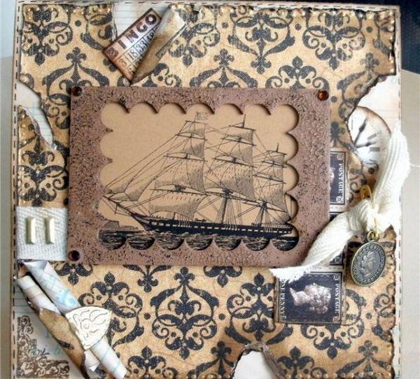 Корабли, машины, монеты и карты — для декора открытки своими руками. Фото с сайта podarynchik.ru