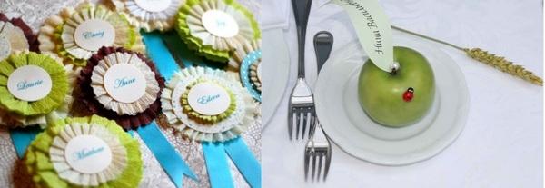 Карточки-медальки и идея для яблочной свадьбы. Фото с сайта http://nashasvadba.net/