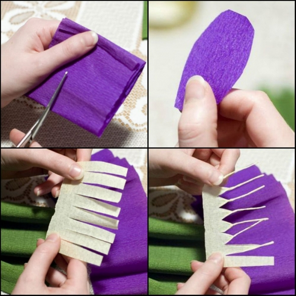 Схема: крокусы из гофрированной бумаги. Фото с сайта http://belosnezhka.com/