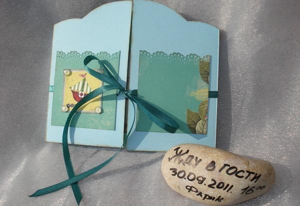 Оригинальное приглашение в морском стиле. Фото с сайта shevchukolena.blogspot.com