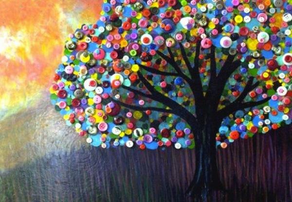 Пуговичное дерево — оригинальный подарок. Фото с сайта tworismelo.com
