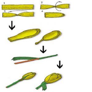 Схема изготовления тюльпанов из бумаги. Фото с сайта womanadvice.ru