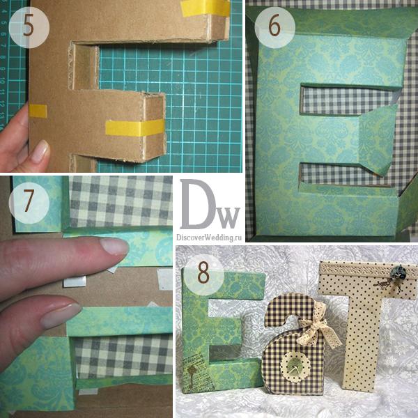 Собираем из деталей букву. Фото с сайта discoverwedding.ru
