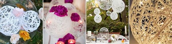 Шары из ниток для украшения зала — стильно и дешево. Фото с сайта www.discoverwedding.ru