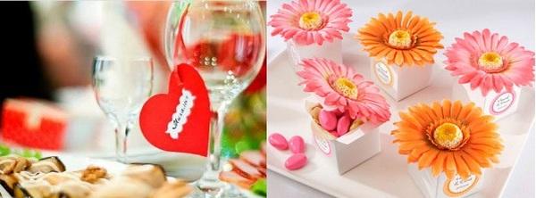 Карточки-сердечки и с цветами — очень романтично. Фото с сайта http://wedding-mood.com